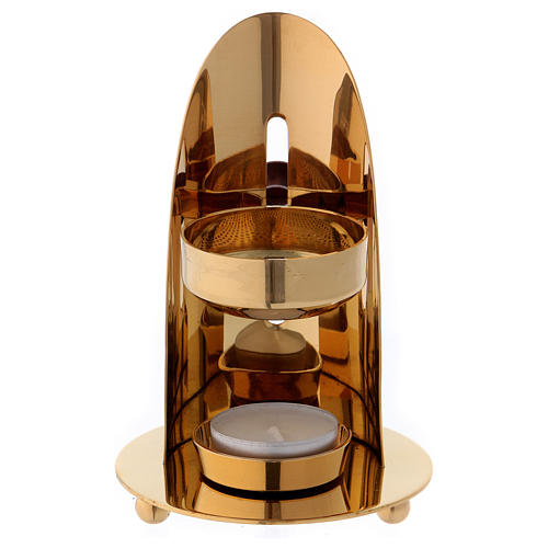 Queimador incenso latão dourado brilhante com punho em madeira 12 cm 2
