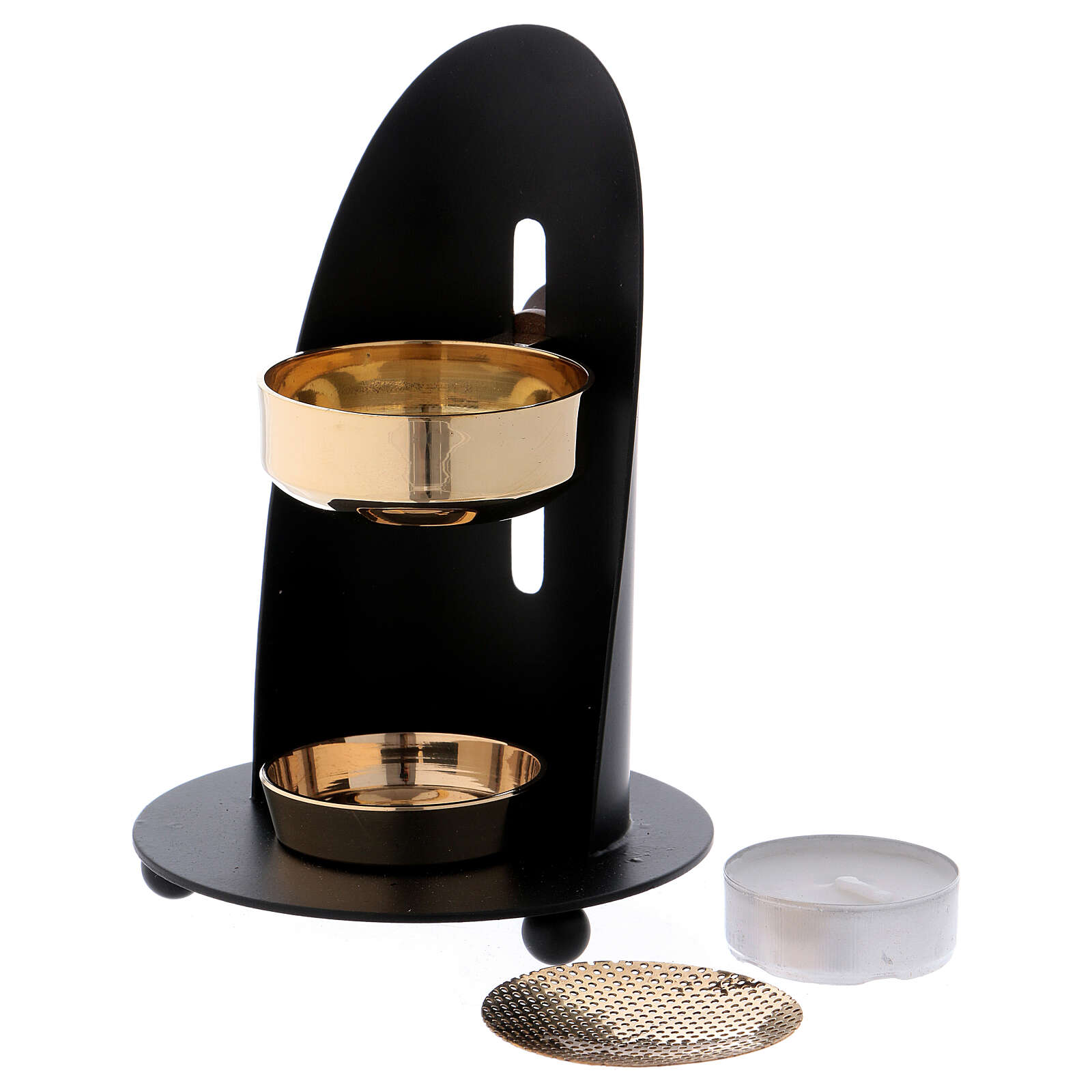 Incense burner in black brass with wood handle 4 3/4 in 3