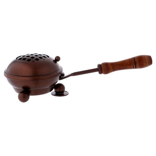 Brûleur d'encens en fer avec manche et finition en cuivre 1