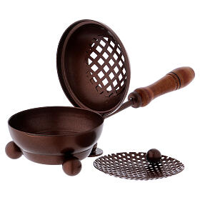 Iron incense burner with handle and copper finish s2