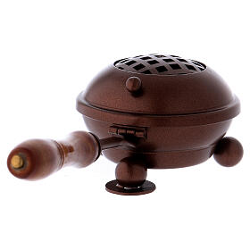 Iron incense burner with handle and copper finish s3