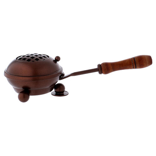 Iron incense burner with handle and copper finish 1