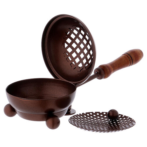 Iron incense burner with handle and copper finish 2