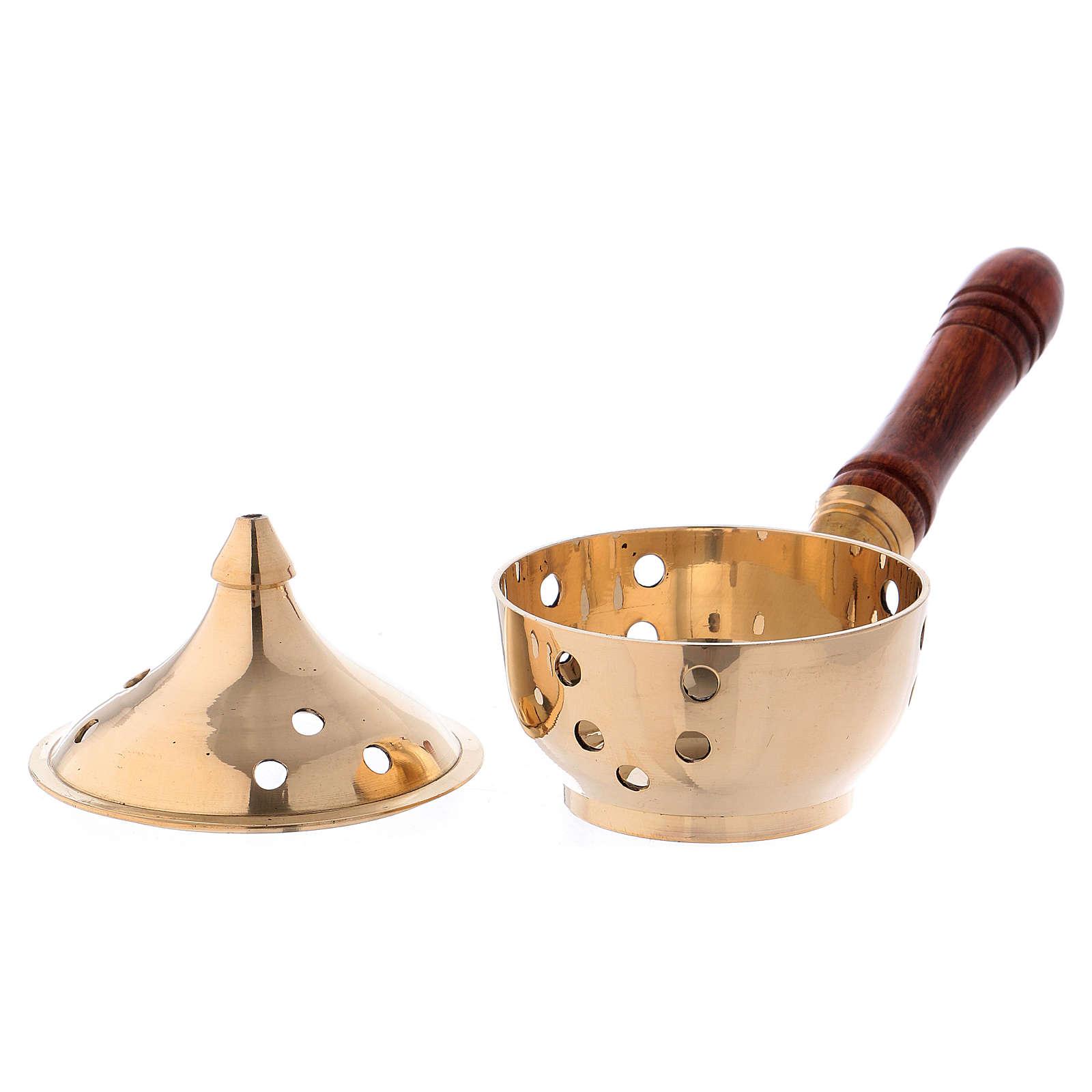 Queimador incenso latão dourado e cabo em madeira 3