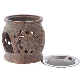 Decorated incense burner in sand colored marbled soapstone s3