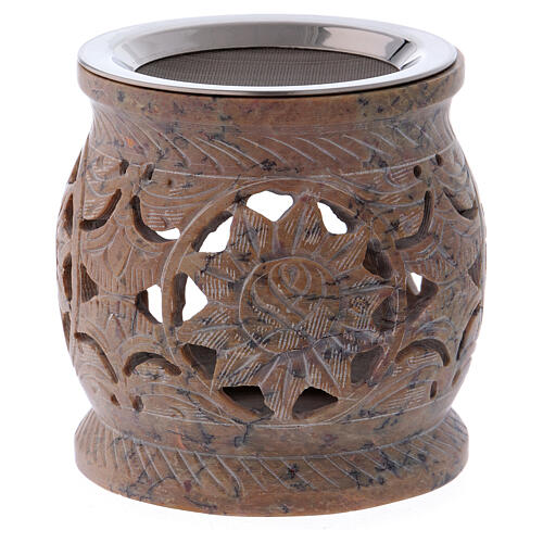 Decorated incense burner in sand colored marbled soapstone 1