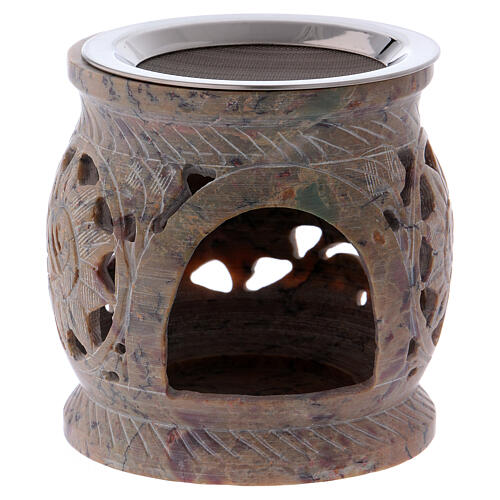 Decorated incense burner in sand colored marbled soapstone 2