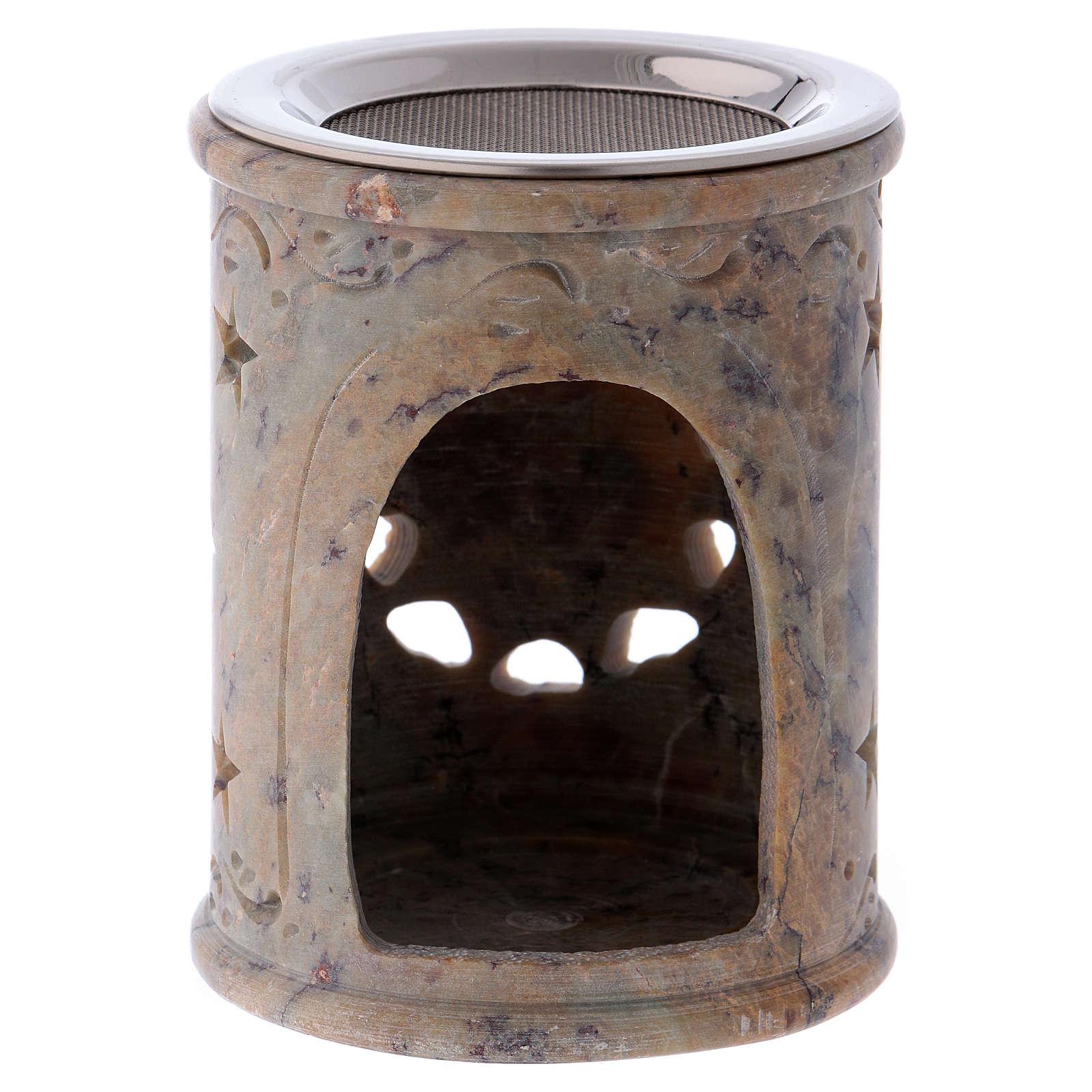 Queimador incenso em pedra-sabão cor de areia marmoreada 3