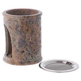 Queimador incenso em pedra-sabão cor de areia marmoreada s3