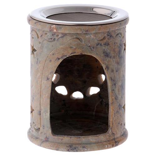 Queimador incenso em pedra-sabão cor de areia marmoreada 2