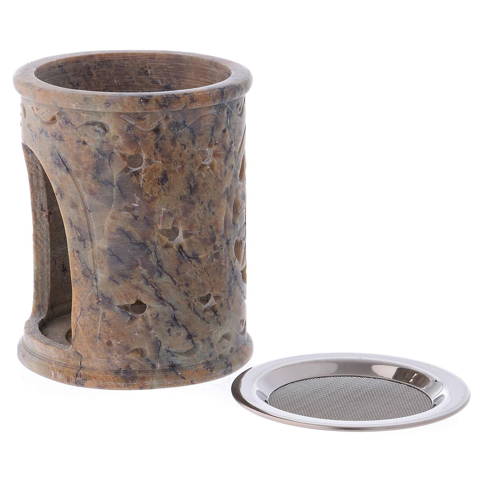 Incense burner in sand colored marbled soapstone 3