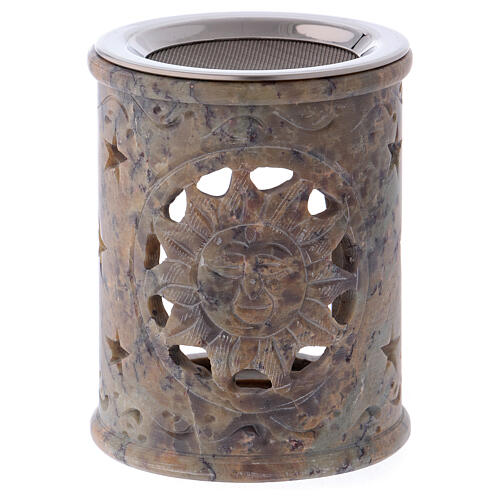 Incense burner in sand colored marbled soapstone 1