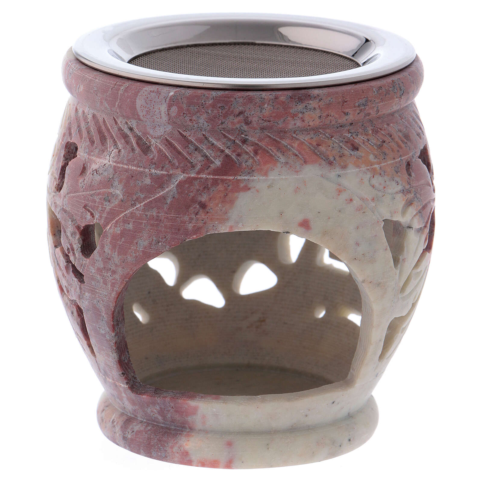Decorated incense burner in white soapstone with purple shades 3