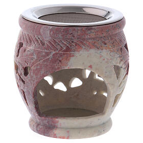 Decorated incense burner in white soapstone with purple shades s2