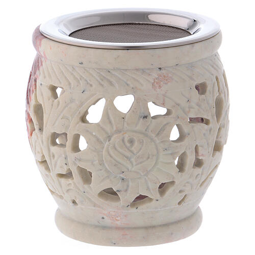 Decorated incense burner in white soapstone with purple shades 1