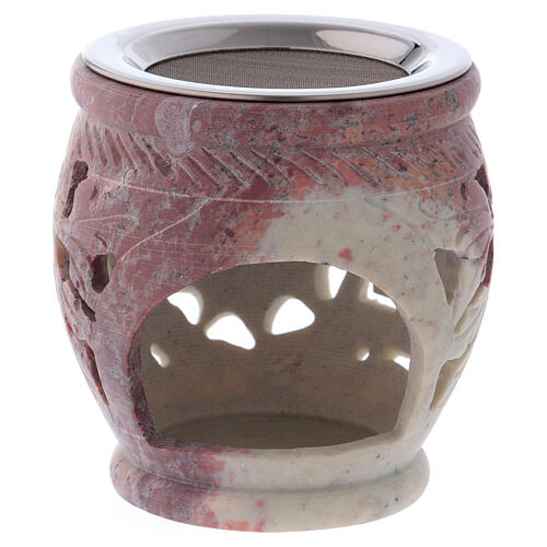 Decorated incense burner in white soapstone with purple shades 2