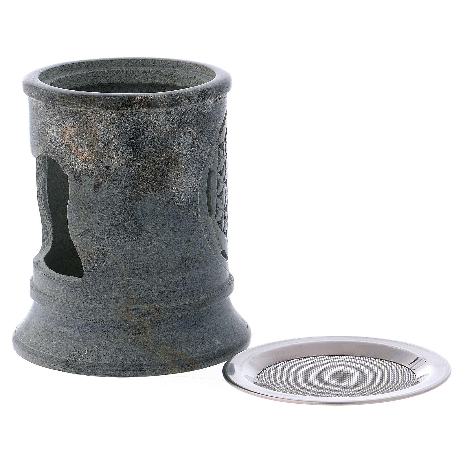 Incense burner in grey soapstone 3