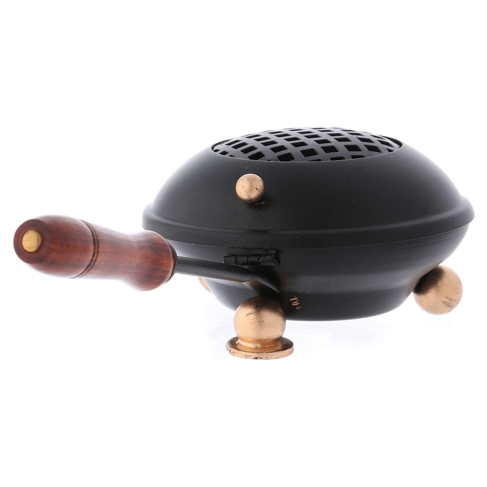 Bruciaincenso in ferro con manico e impugnatura in legno 3