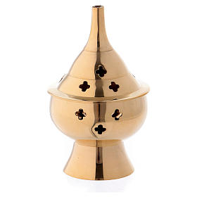 Brûleur d'encens en laiton doré 10 cm s1
