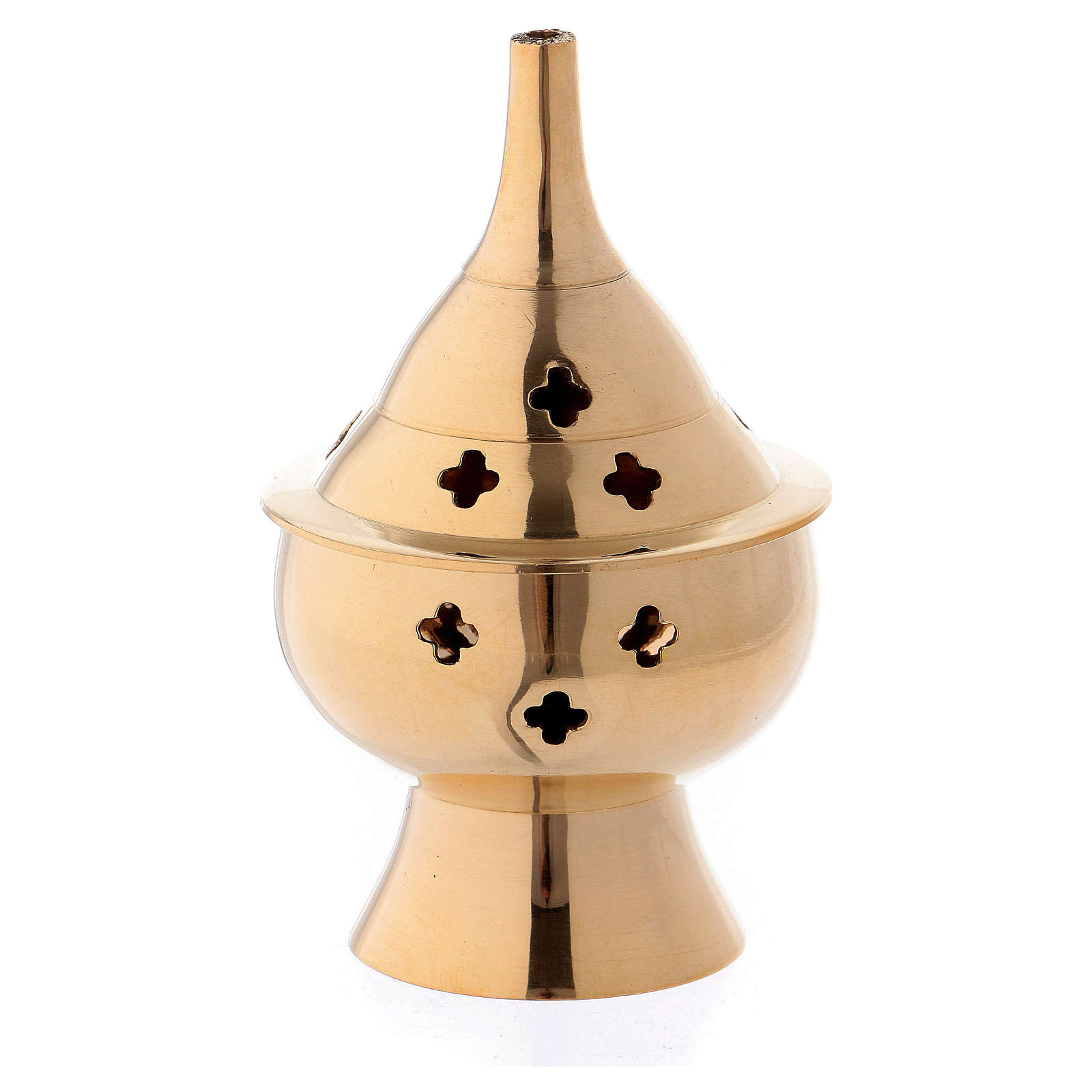 Queimador incenso em latão dourado 10 cm 3