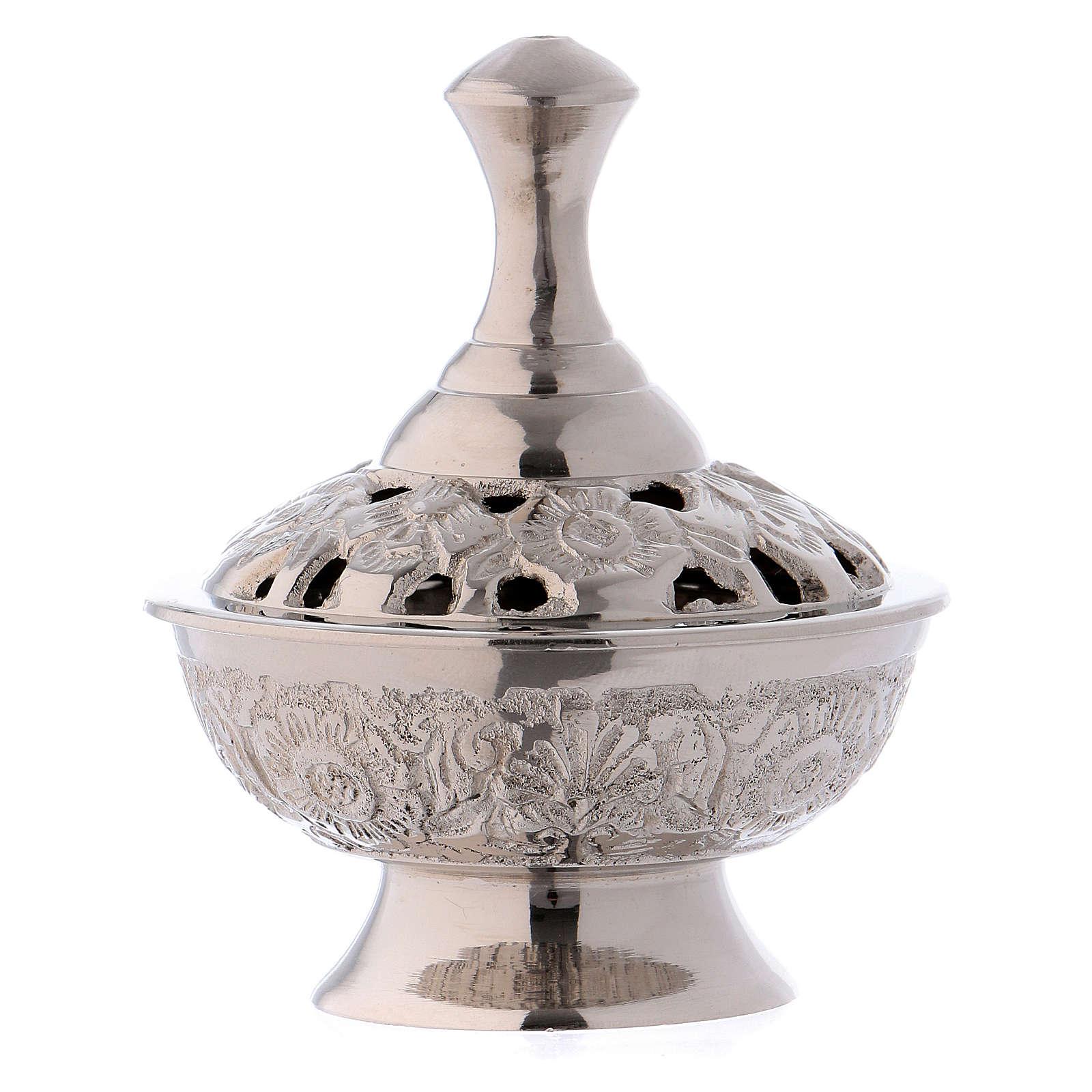 Brûle-encens en laiton argenté h 7 cm 3