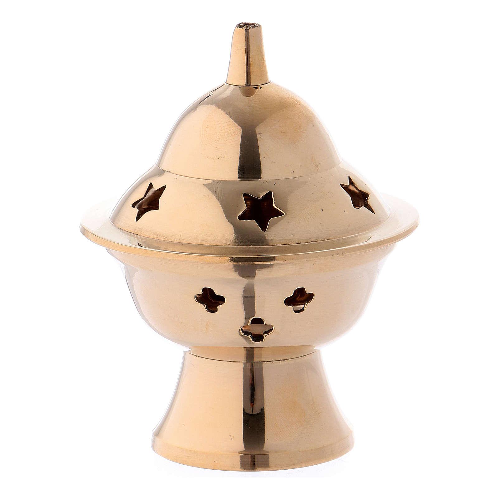 Brûle-encens en laiton doré h 8 cm 3