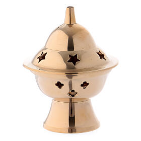 Incense burner in gold plated brass h 3 in s1