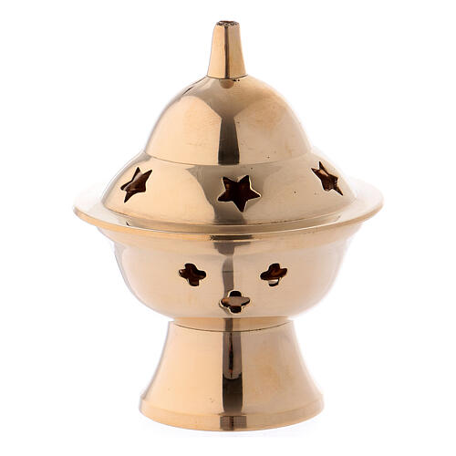 Incense burner in gold plated brass h 3 in 1