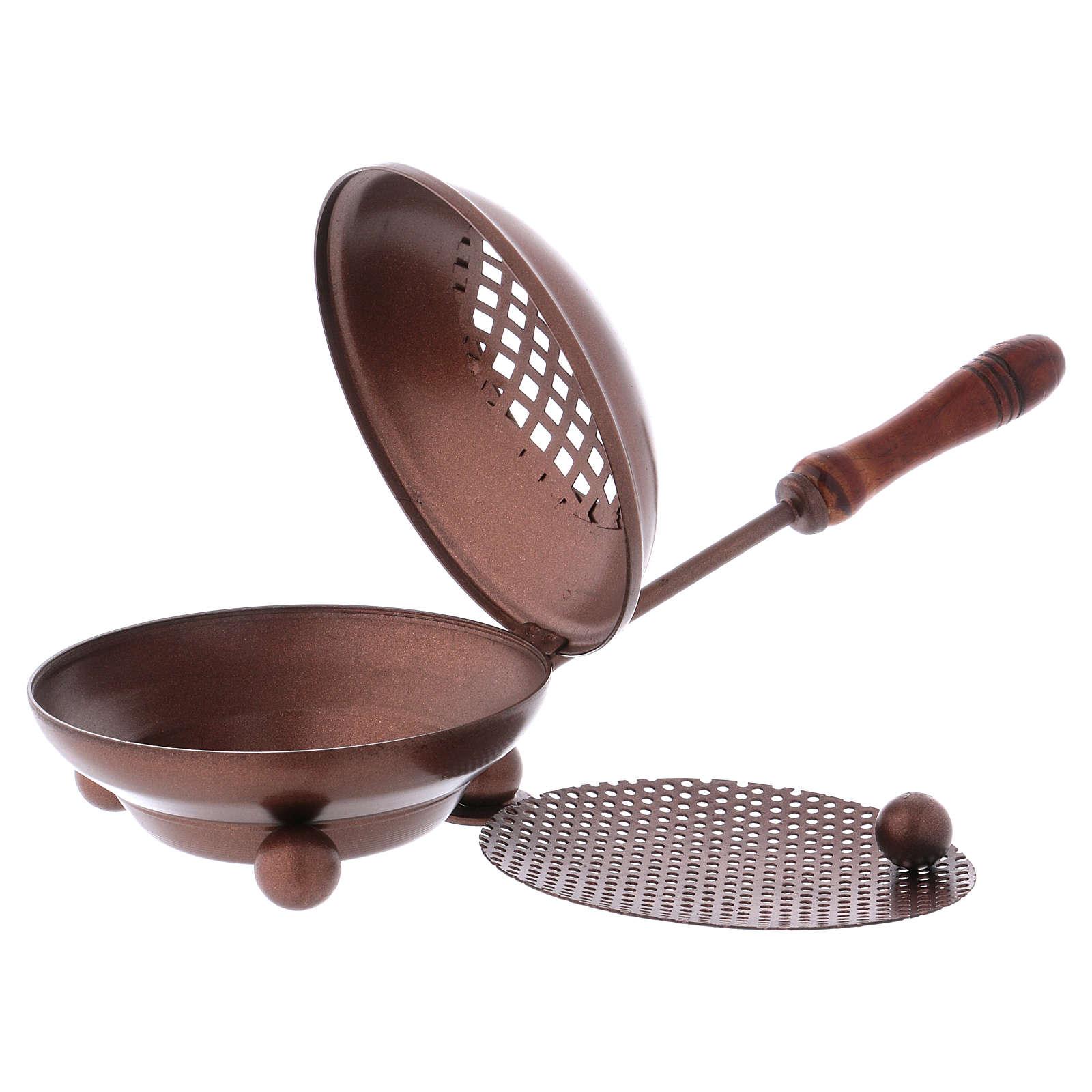 Pebetero de hierro con mango empuñadura madera acabado cobre 3