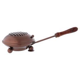 Pebetero de hierro con mango empuñadura madera acabado cobre s1
