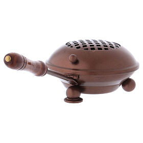 Iron incense burner with wood handle copper finish s3