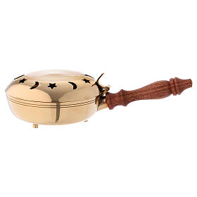 Incense burner in solid golden brass with wooden handle s1