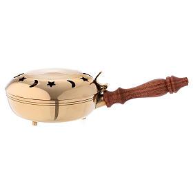 Incensario redondo latón con mango madera s1