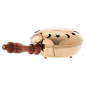 Queimador incenso latão dourado maciço cabo em madeira s3