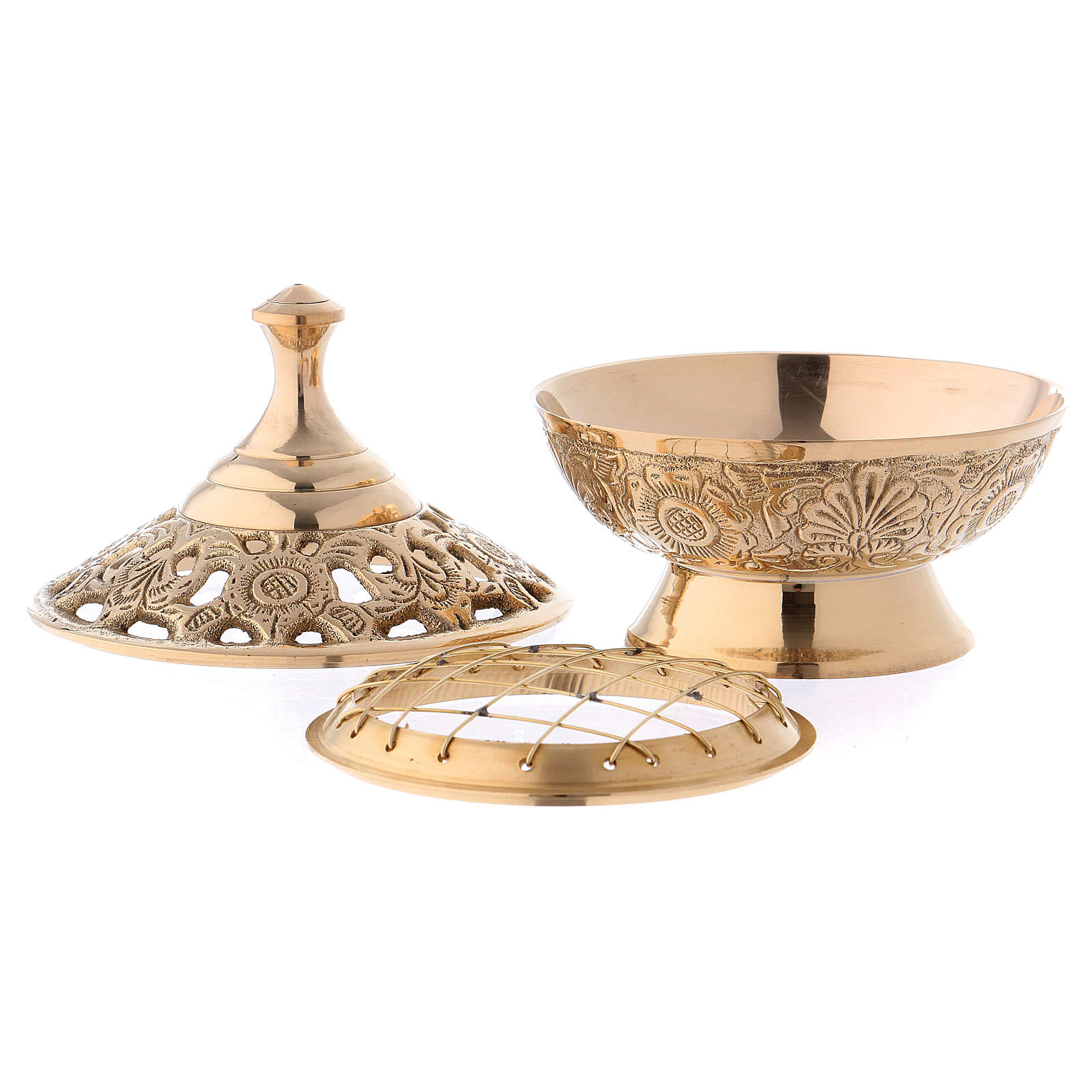 Incense burner in gold-plated brass 11 cm 3
