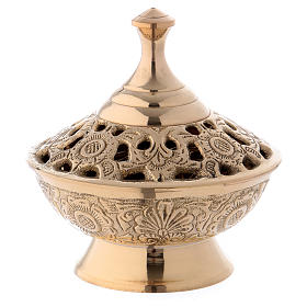 Incense burner in gold-plated brass 11 cm s1