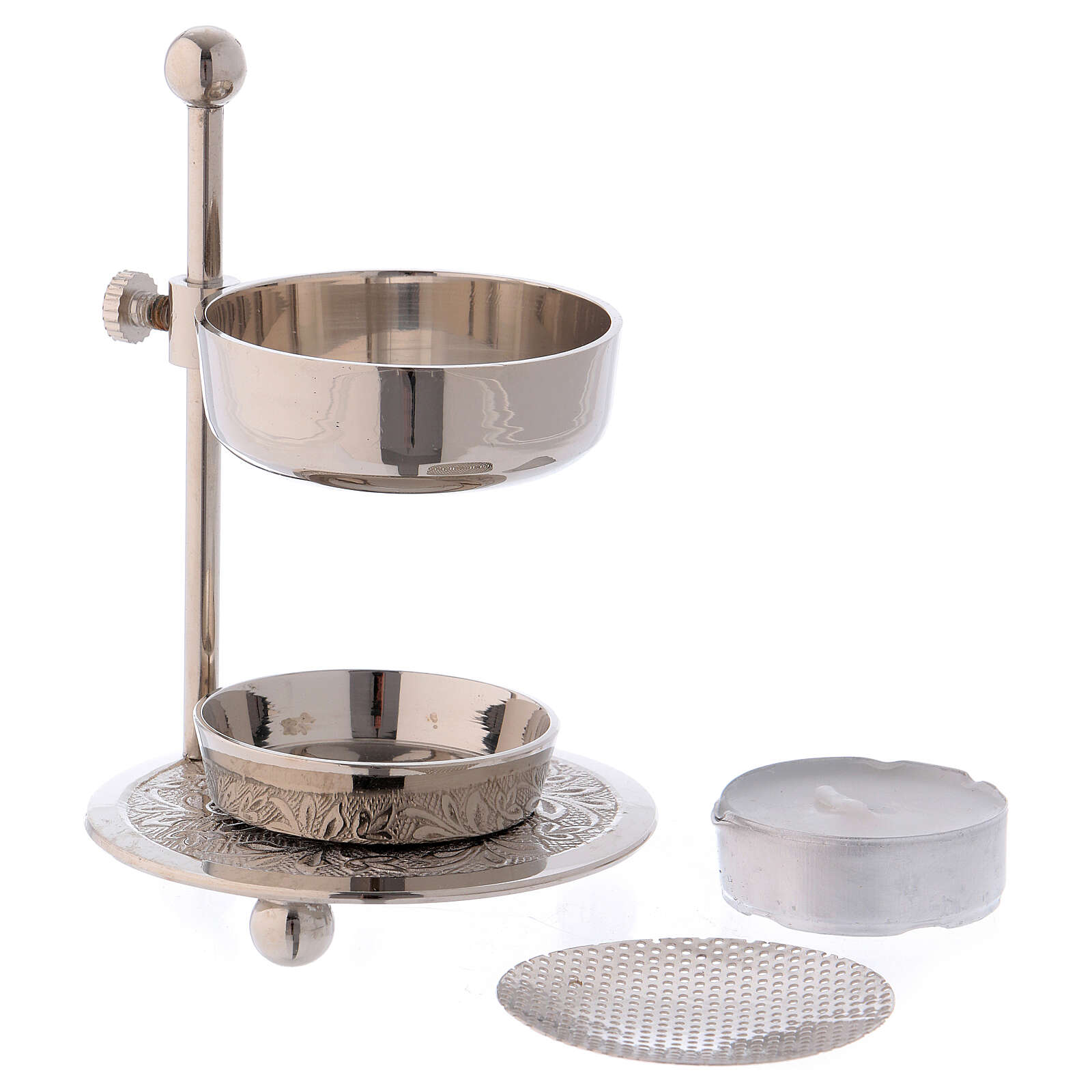 Incense burner in silver-plated brass h 4 1/4 in 3