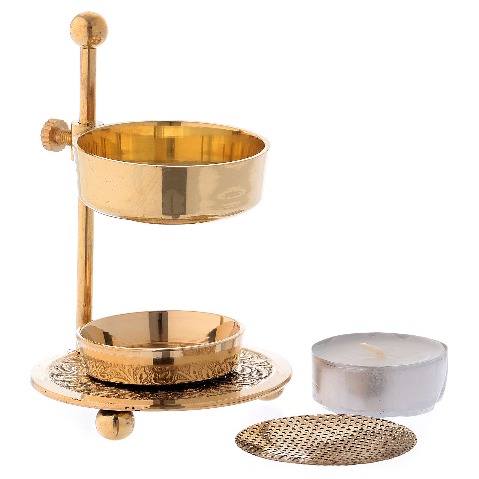 Gold plated brass incense burner h 4 1/4 in 3