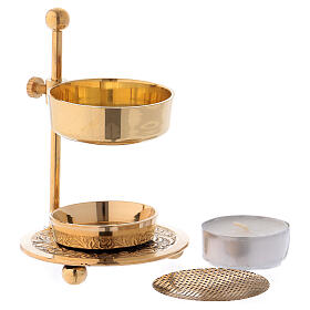 Gold plated brass incense burner h 4 1/4 in s2