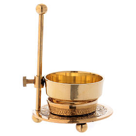 Gold plated brass incense burner h 4 1/4 in s3