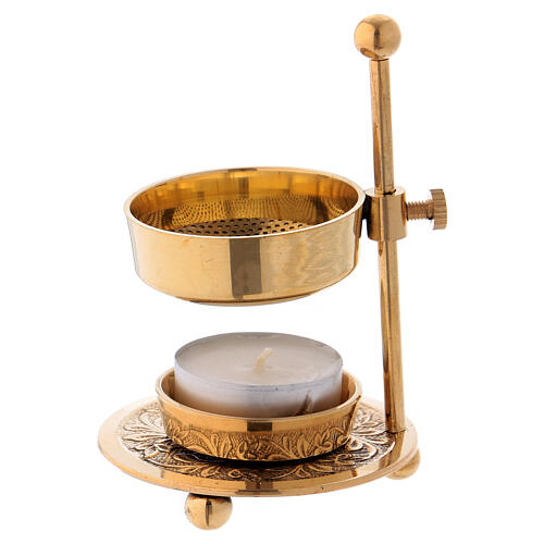 Gold plated brass incense burner h 4 1/4 in 1