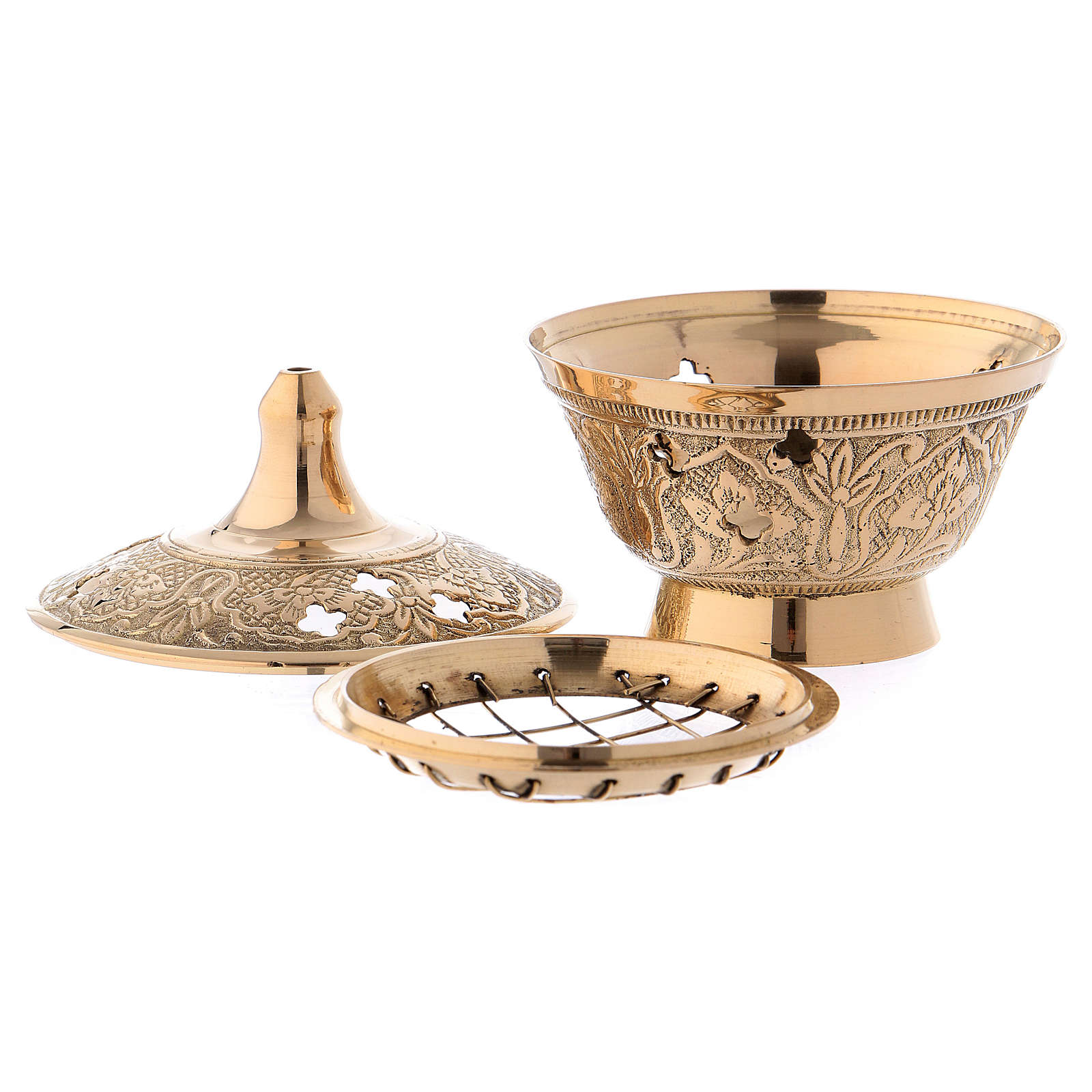 Incense burner in glossy gold-plated brass 8 cm 3