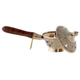 Brûleur encens en laiton doré avec manche en bois h 8 cm s3