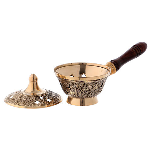 Incense burner in gold plated brass with wood handle h 3 in 2