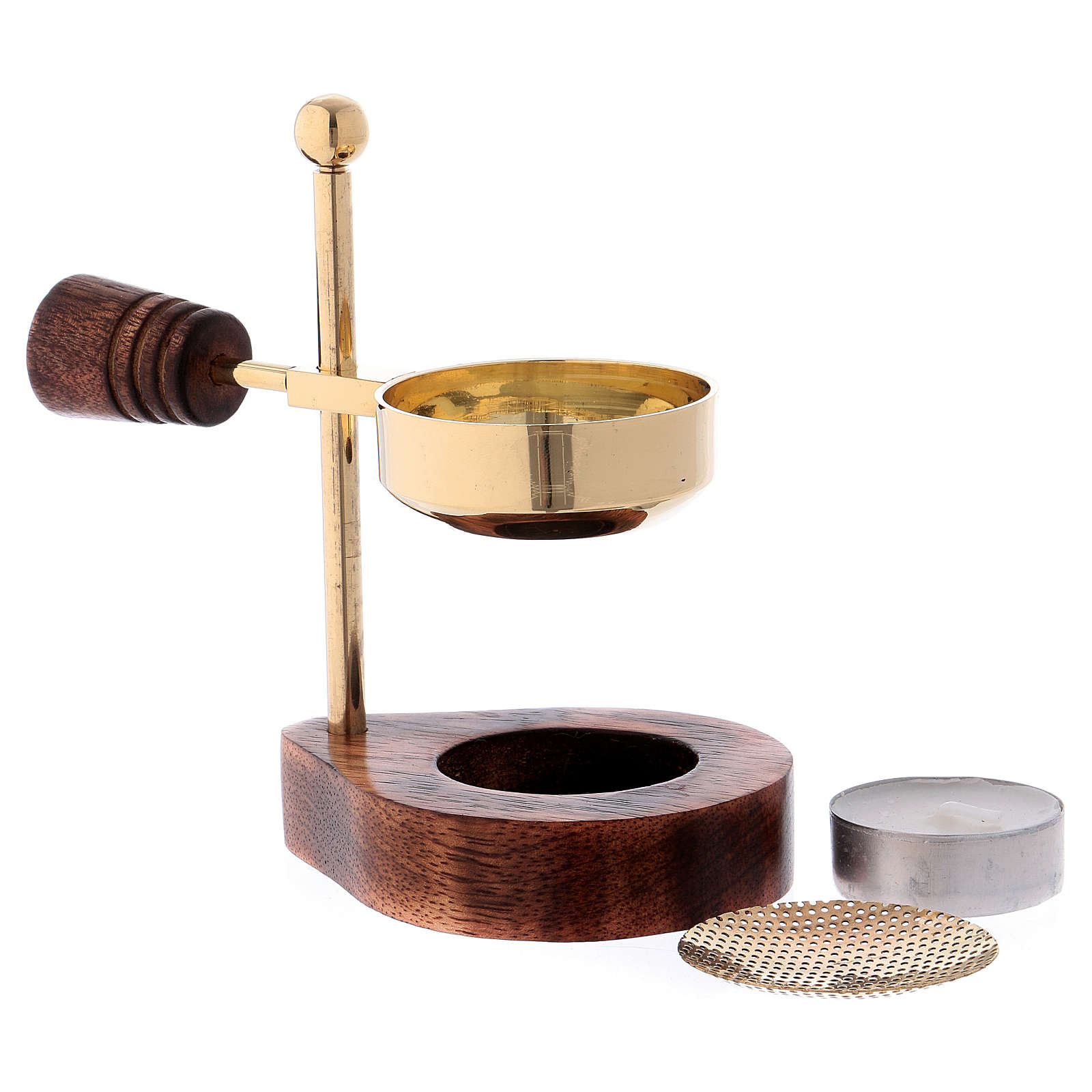 Incense burner with wooden base and pan in brass 12 cm 3