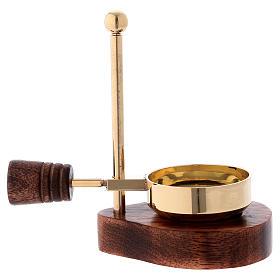 Incensario con base de madera y platillo regulable de latón s3