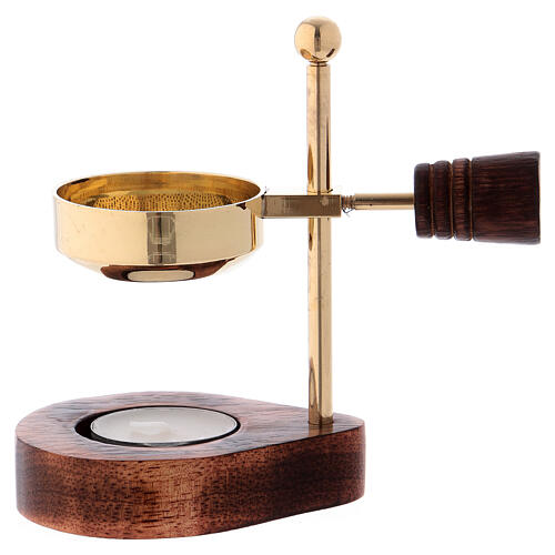 Incense burner with wood base and brass burner 4 3/4 in 1