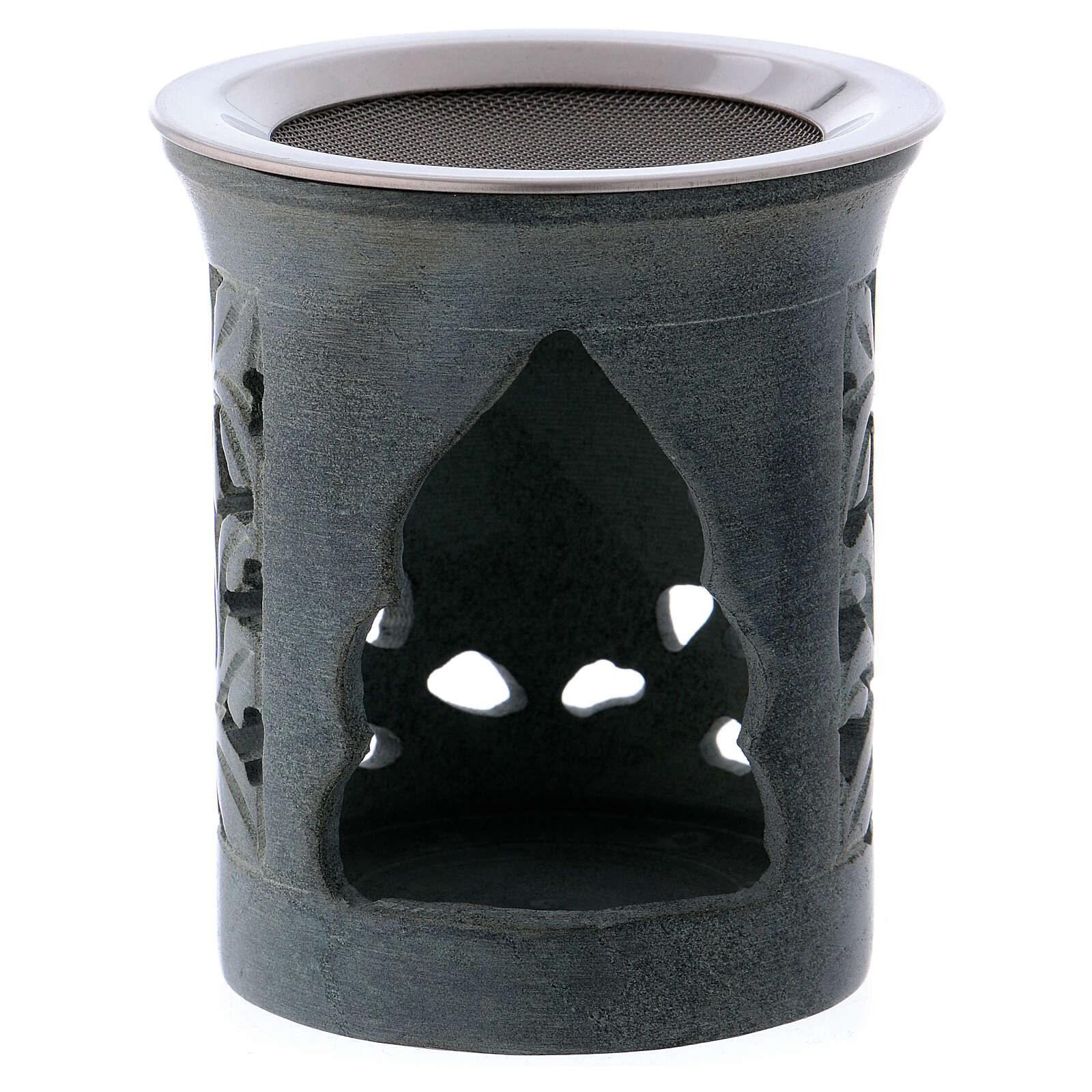Incense burner in anthracite-colored soapstone 3