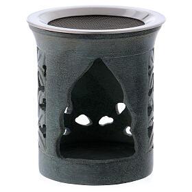 Incense burner in anthracite-colored soapstone s2