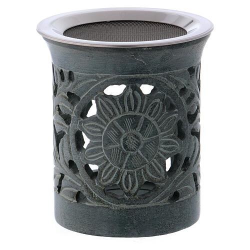 Incense burner in anthracite-colored soapstone 1